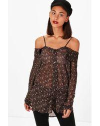 Boohoo - Paisley Cold Shoulder Shirt - Lyst