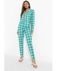 Boohoo Flanneled Blazer, Bralette & Skinny Trousers - Green
