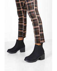 Boohoo Chunky Cleated Chelsea Boots - Black