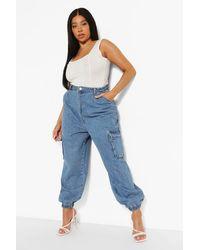 Boohoo Plus Denim Elasticated Cuff Pocket Joggers - Blue