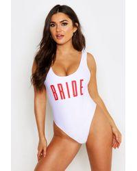 a25e645cf3977 Boohoo Durban Bride Squad Tie Side Bikini Brief in Black - Lyst