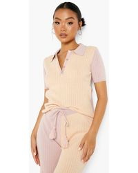 Boohoo Petite Knitted Colourblock Polo Co-ord - Pink