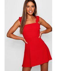 Lyst - Boohoo Pearl Scuba Double Strap Skater Dress in Metallic 2351482c4