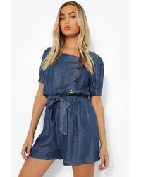 Boohoo Puff Sleeve Belted Denim Playsuit - Azul