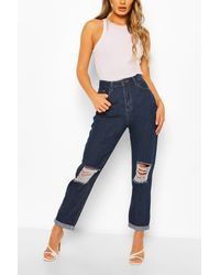 Boohoo High Rise Distressed Boyfriend Jean - Blue