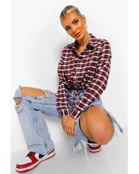 Boohoo Flannel Utility Pocket Shirt - Red