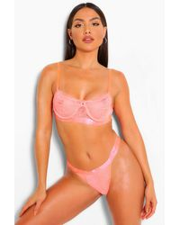 Boohoo Spot Mesh & Lace Bralet & Thong Set - Multicolour