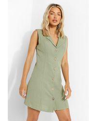 Boohoo Textured Button Front Shirt Dress - Verde