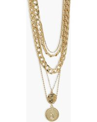 Boohoo Chunky Chain Double Coin Layered Necklace - Metálico