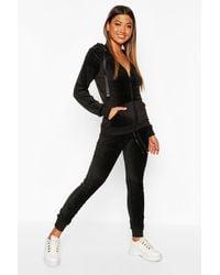 Boohoo Velvet Hooded Loungwear Set - Black