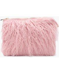 d26114fe57 Boohoo - Louise Mongolian Fur Clutch Bag - Lyst