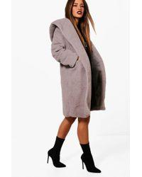 Boohoo - Petite Oversized Hooded Teddy Coat - Lyst