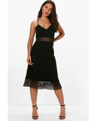 Boohoo - Boutique Lace Midi Skater Dress - Lyst