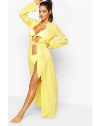 Boohoo Maxi Beach Kimono - Yellow