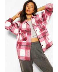 Boohoo Tonal Flannel Trucker - Red