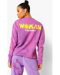 Boohoo Woman Oversized Tie Dye Sweatshirt - Purple