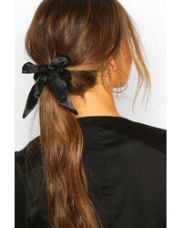 Boohoo Bow Detail Hair Scrunchie - Negro
