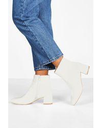 Boohoo Womens Basic Block Heel Shoe Boots - White - 5