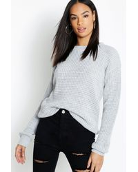 Boohoo Tall Waffle Knit Sweater - Gray