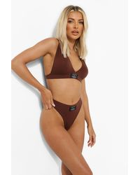 Boohoo Second Skin Official Woven Tab Thong - Brown