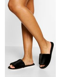Boohoo Fluffy Slider Slipper - Black