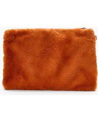 0cecfa12f5 Boohoo - Maisy Faux Fur Ziptop Clutch - Lyst