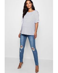 Boohoo Womens Maternity Over The Bump Skinny Jeans - Blue