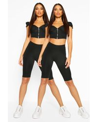 Boohoo 2 Pack Basic Biker Shorts - Black