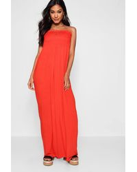 Boohoo - Shirred Bandeau Maxi Dress - Lyst