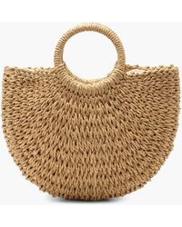 Boohoo Womens Circle Handle Straw Bag - Natural