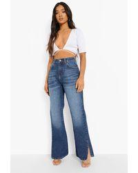 Boohoo Petite Side Split Flared Jeans - Blue
