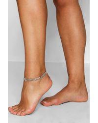 Boohoo - Plus Diamante Layered Anklet - Lyst