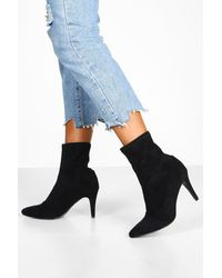 Boohoo Basic Stiletto Heel Sock Boots - Black