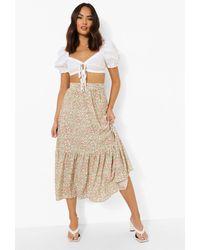 Boohoo Ditsy Floral Maxi Skirt - Rosa