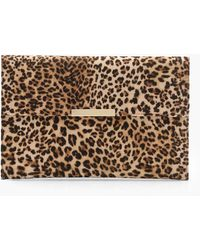 Boohoo Leopard Envelope Clutch Bag - Natural