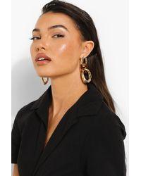 Boohoo Womens Tort Resin Chain Link Earrings - Mettallic