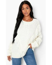 Boohoo Tall Cable Knit Fringed Oversized Jumper - White