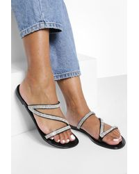 Boohoo Jelly Diamante Strap Sandals - Black