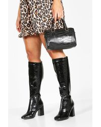 Boohoo Extra Wide Width Knee High Boots - Black