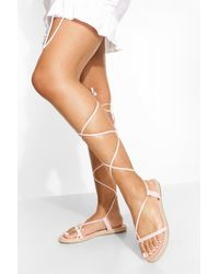 Boohoo Wide Width Wrap Up Sandals - Natural