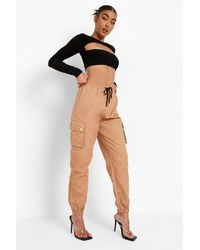Boohoo Contrast Drawstring Waist Cargo Trousers - Natural