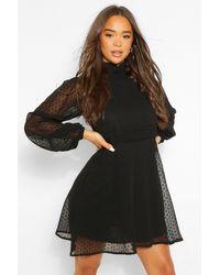 Boohoo Dobby Mesh High Neck Pleat Detail Skater Dress - Black