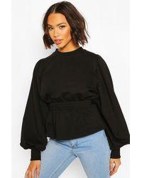 Boohoo Womens Puff Sleeve Shirred Waist Sweat - Black