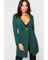 Boohoo - Tort Shell Belted Duster Jacket - Lyst