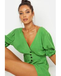 Boohoo Puff Sleeve Button Front Romper - Green