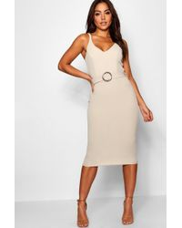 Boohoo - Belted Strappy Midi Dress - Lyst