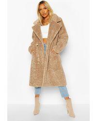 Boohoo Womens Strukturierter Oversized Mantel aus Kunstpelz - Natur