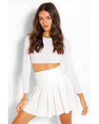 Boohoo Pleated Tennis Skirt - White