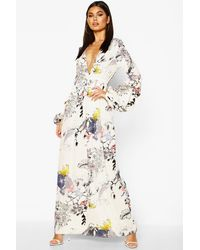 Boohoo Mimi V Neck Rouched Sleeve Floral Maxi Dress - White