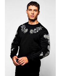 Boohoo | Red Rose Embroidered Jumper | Lyst